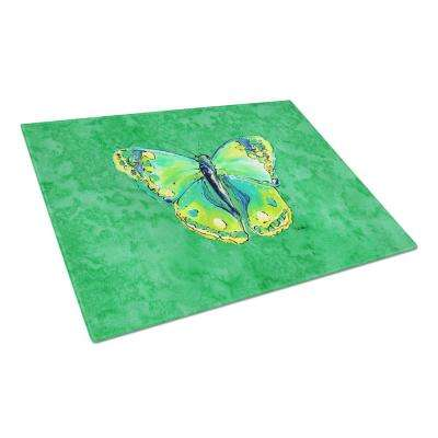 Butterfly Green on Green Tempered Glass Large Cutting Board
