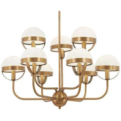Tannehill 9-Light Aged Brass Chandelier with Opal Glass Shade