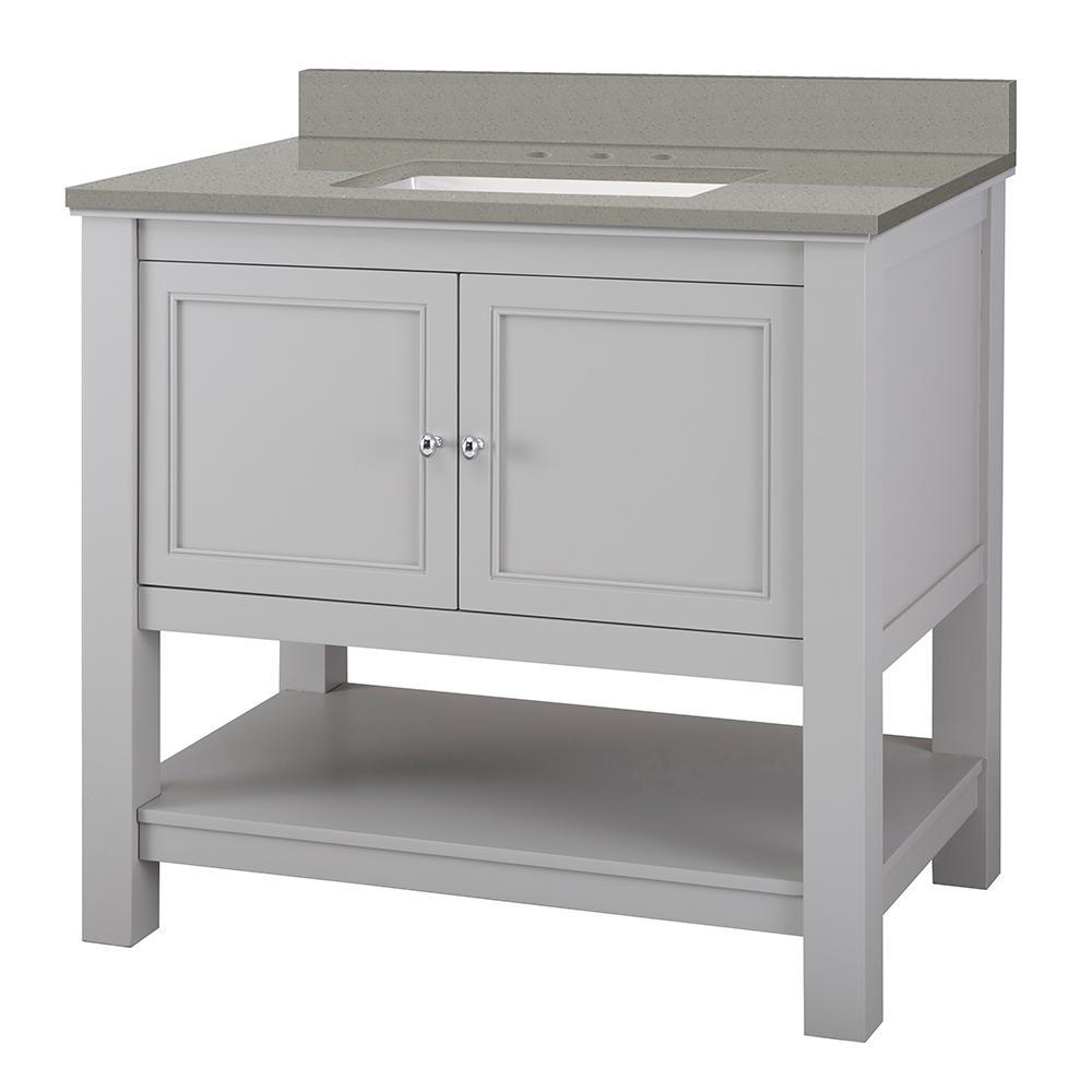 Gazette 37 in. W x 22 in. D Bath Vanity in Grey with Engineered Quartz Vanity Top in Sterling Grey with White Basin
