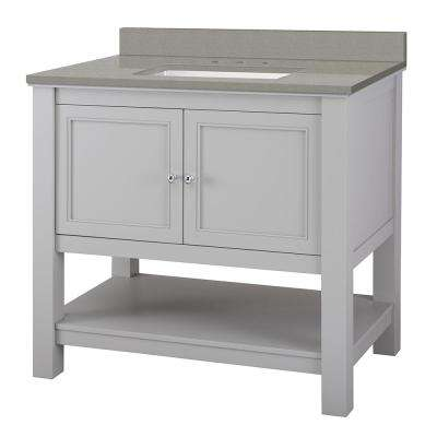 Gazette 37 in. W x 22 in. D Bath Vanity in Grey with Engineered Quartz Vanity Top in Sterling Grey with White Basin