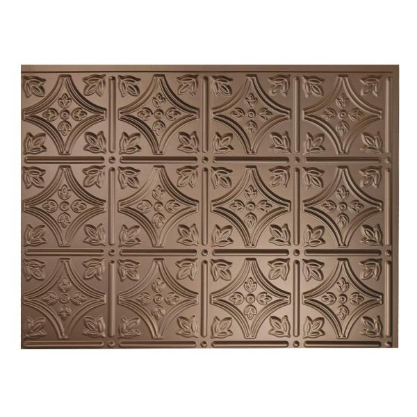 18.25 in. x 24.25 in. Argent Bronze Traditional Style # 1 PVC Decorative Backsplash Panel