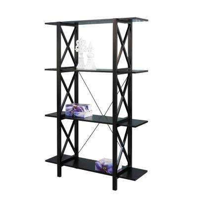 Anna Antique Black Open Bookcase