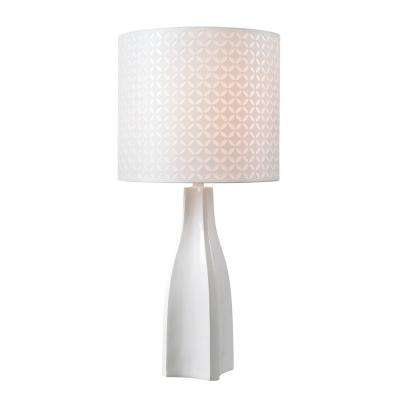 Desiree 30 in. White Table Lamp with White Patterned Shade