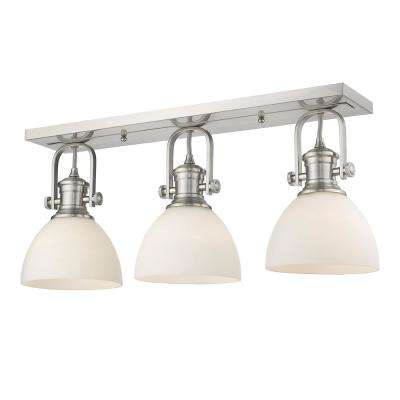 Hines 25.13 in. 3-Light Pewter with Opal Glass Semi-Flush Mount