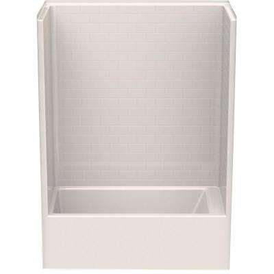 Everyday Subway Tile 60 in. x 32 in. x 80 in. 1-Piece Bath and Shower Kit with Left Drain in Biscuit