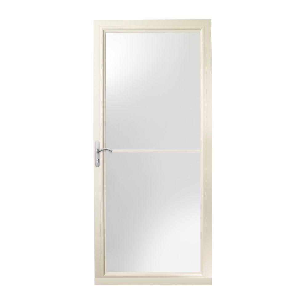 36 in. x 80 in. 3000 Series Almond Left-Hand Self-Storing Easy Install Aluminum Storm Door with Nickel Hardware