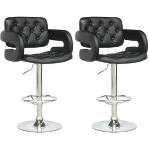 Adjustable Height Tufted Black Leatherette Bar Stool (Set of 2)