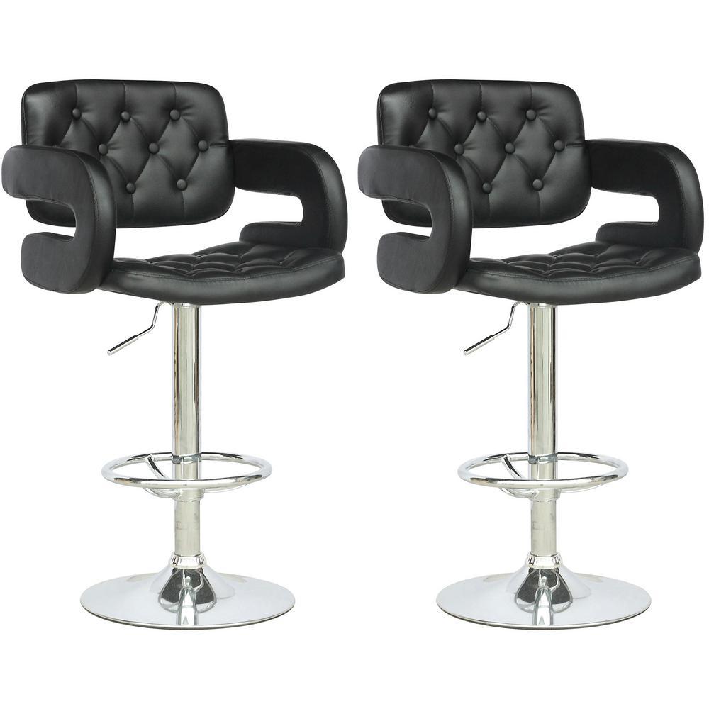 Adjustable Height Tufted Black Leatherette Bar Stool (Set of 2)