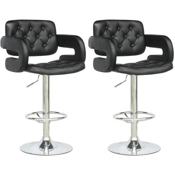 CorLiving Adjustable Height Tufted Black Leatherette Bar Stool (Set of 2)
