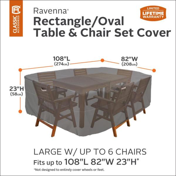 Classic Accessories Ravenna Round Patio Table /& Chair Set Cover Pack of 2 Taupe X-Large