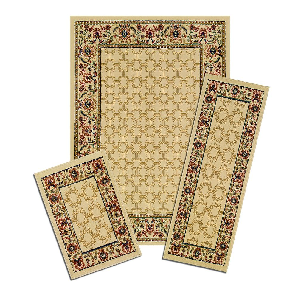 Capri Multicolored Golden Lattice 5 ft. x 7 ft. 3-Piece Rug