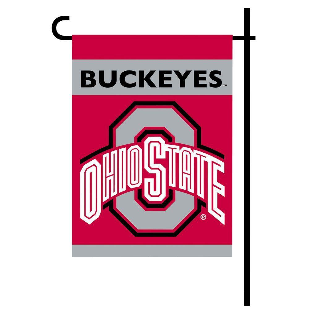BSI Products NCAA 13 in. x 18 in. Ohio State 2-Sided Garden Flag Set with 4 ft. Metal Flag Stand