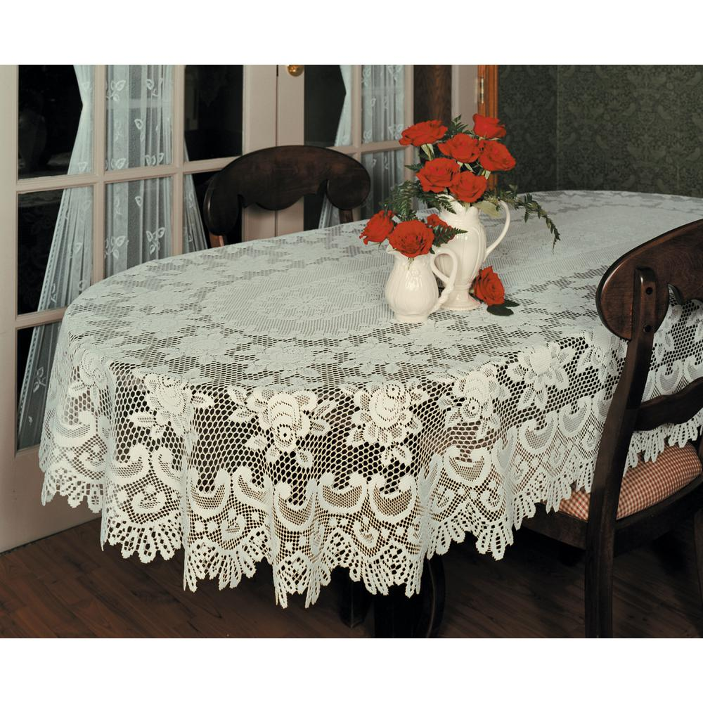Lace Tablecloths Oval 300x300.jpg Heritage Lace Rose Oval ECRU Polyester Tablecloth 56680E - The Home Depot