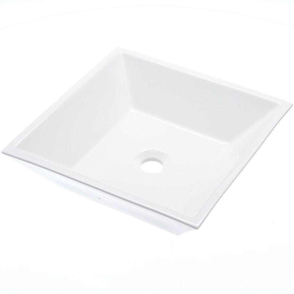 Amazing Square Vitreous China Vessel Sink In White