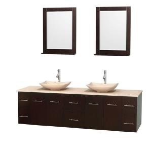 Wyndham Collection Centra 80 inch Double Vanity in Espresso with Marble Vanity Top in Ivory, Marble Sinks and 24 inch... by Wyndham Collection
