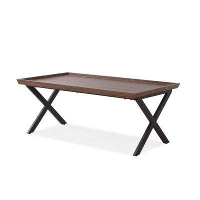 Miller Dark Brown Oak Rectangular Cocktail Table with Black Metal Legs