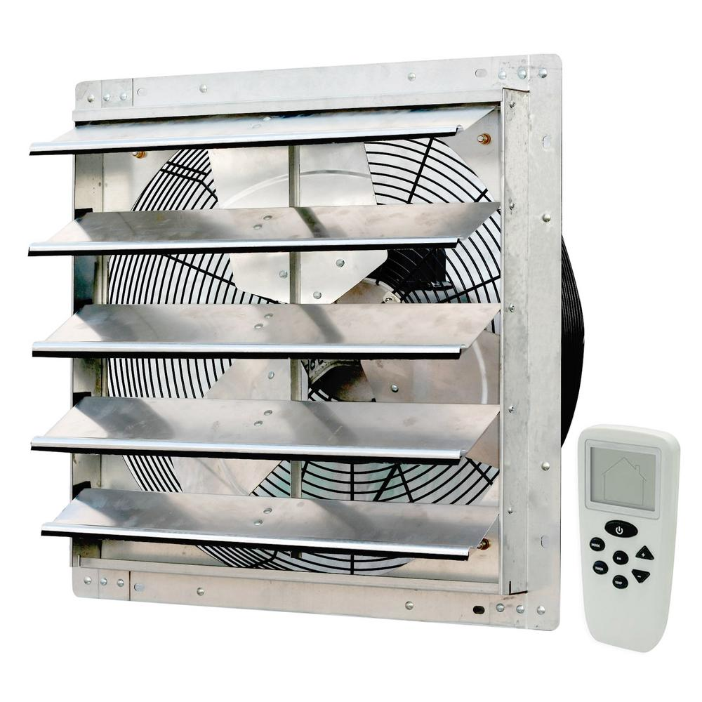 iLIVING 18 in. 1736 CFM Power Variable Speed Exhaust Shutter Fan with Thermostat, Humidistat, Variable Speed, Timer