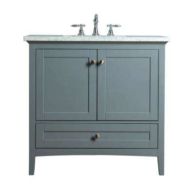 Tower 36 in. W x 22 in. D Vanity in Gray with Marble Vanity Top in Carrara White with White Basin