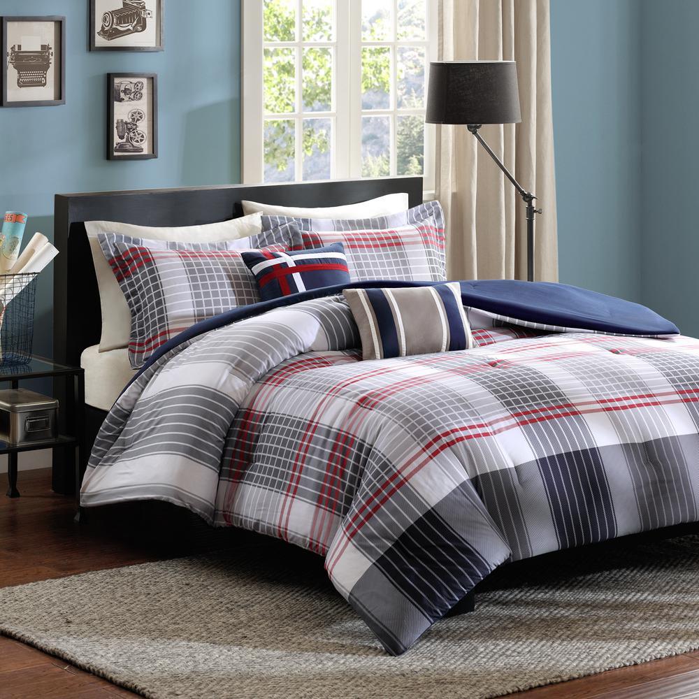 Harper 4-Piece Blue Twin Comforter Set