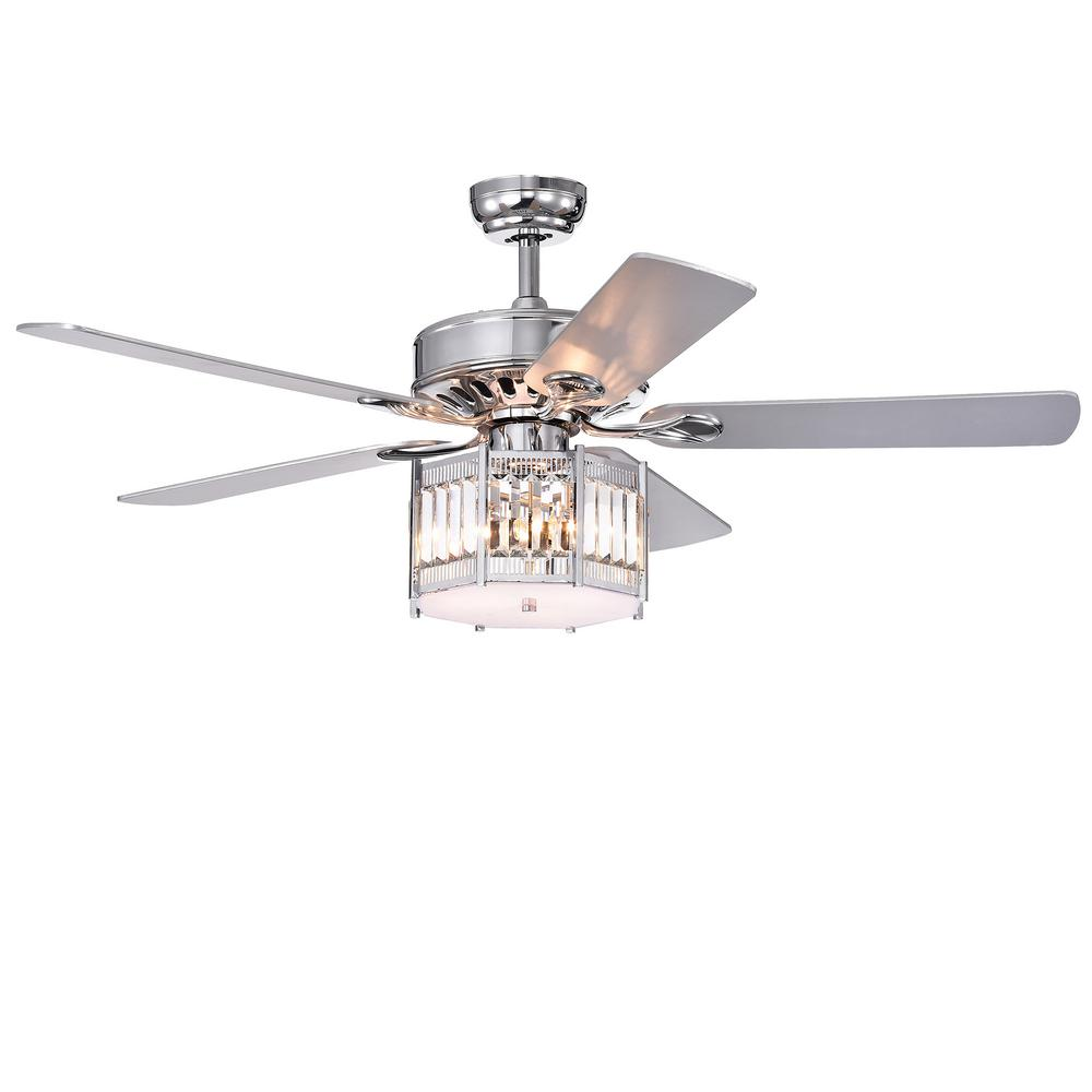 Warehouse of Tiffany Valens 52 in. Indoor Chrome Remote Controlled Ceiling Fan with Light Kit