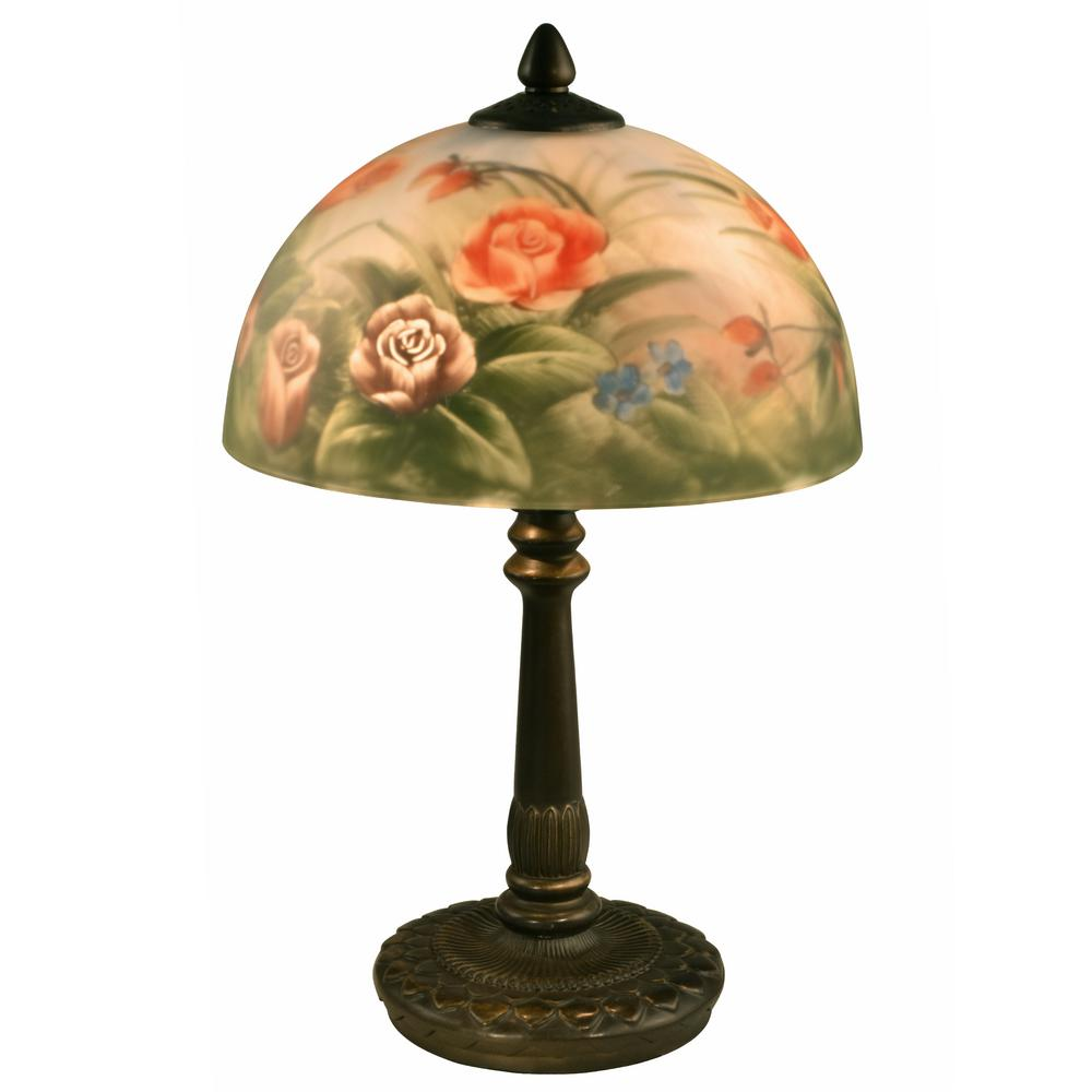 Genial Antique Bronze Rose Dome Table Lamp With Hand Painted Glass Shade