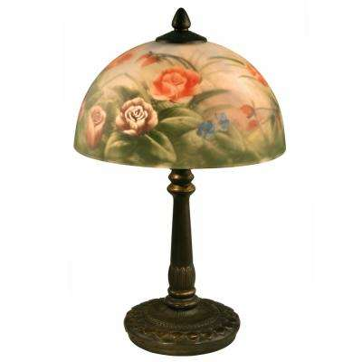 16 in. Antique Bronze Rose Dome Table Lamp with Hand Painted Glass Shade