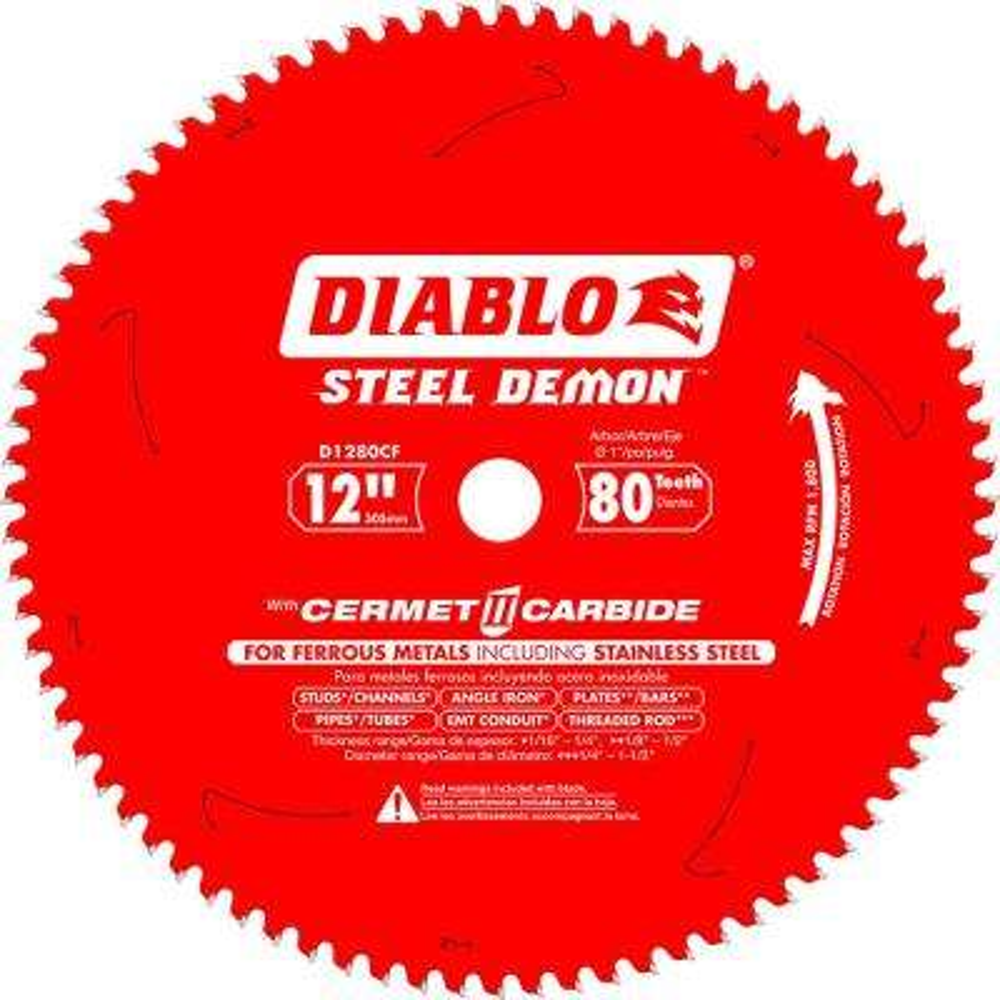 12 in. x 80-Tooth Steel Demon Cermet II Carbide Blade for Ferrous Metals and Stainless Steel