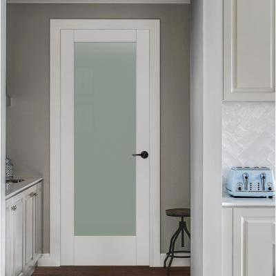 32 in. x 80 in. MODA Primed PMT1011 Solid Core Wood Interior Door Slab w/Translucent Glass