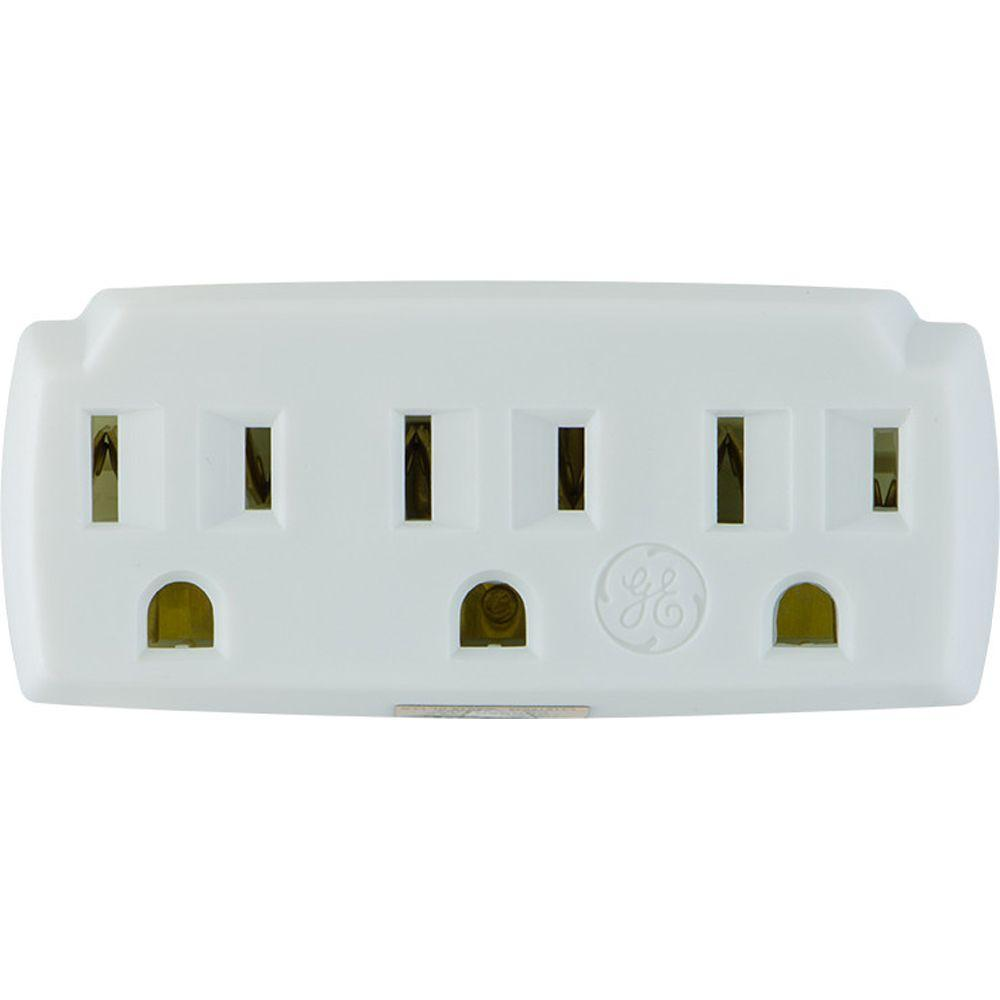 GE 5 Amp 125-Volt 3-Outlet AC Grounded Tap - White