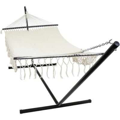 12 ft. Free Standing Handwoven Cotton 2-Person American Mayan Hammock Bed with Stand