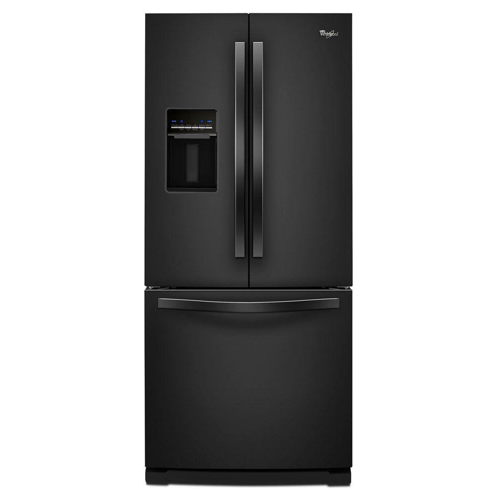 Whirlpool 30 in. W 19.7 cu. ft. French Door Refrigerator in Black