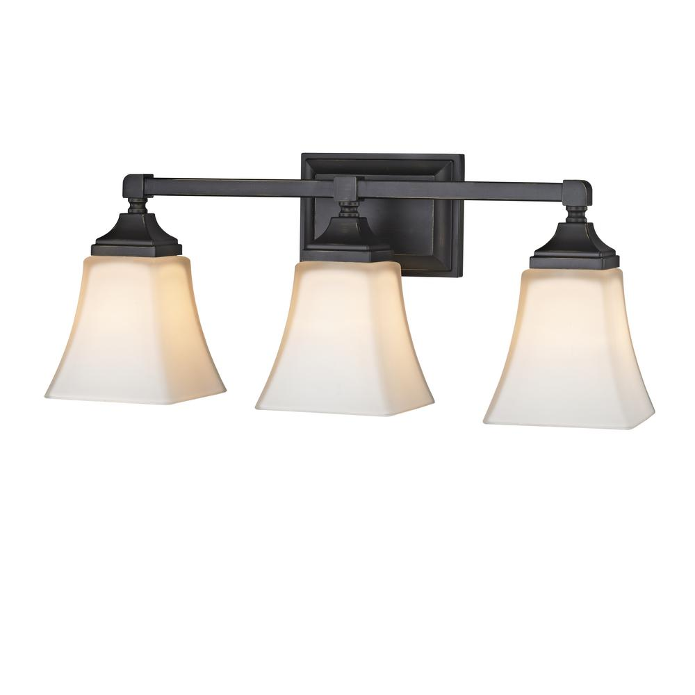 Home Decorators Collection 3-Light Distressed Bronze Sconce with White Frosted Glass Shades