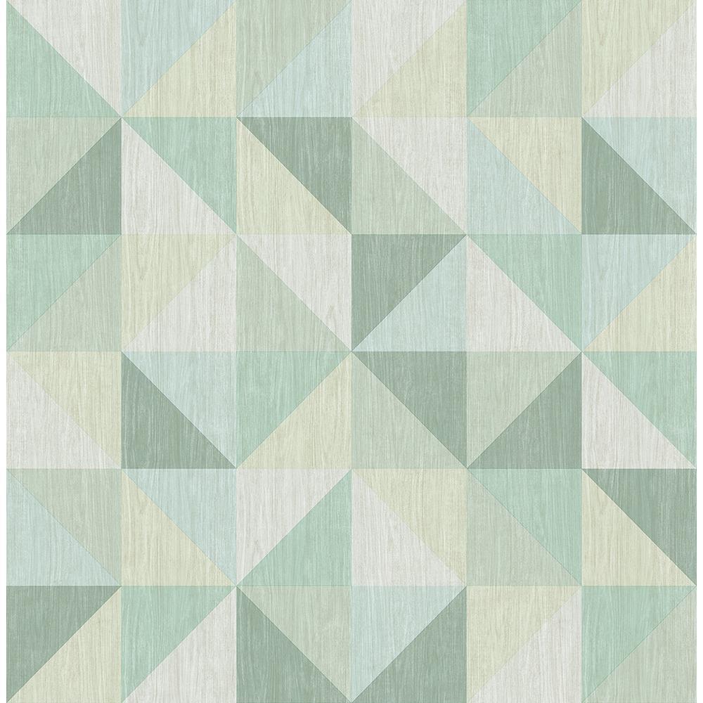 Puzzle Green Geometric Wallpaper Sample