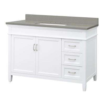 Ashburn 49 in. W x 22 in. D Vanity Cabinet in White with Engineered Quartz Vanity Top in Sterling Grey with White Basin