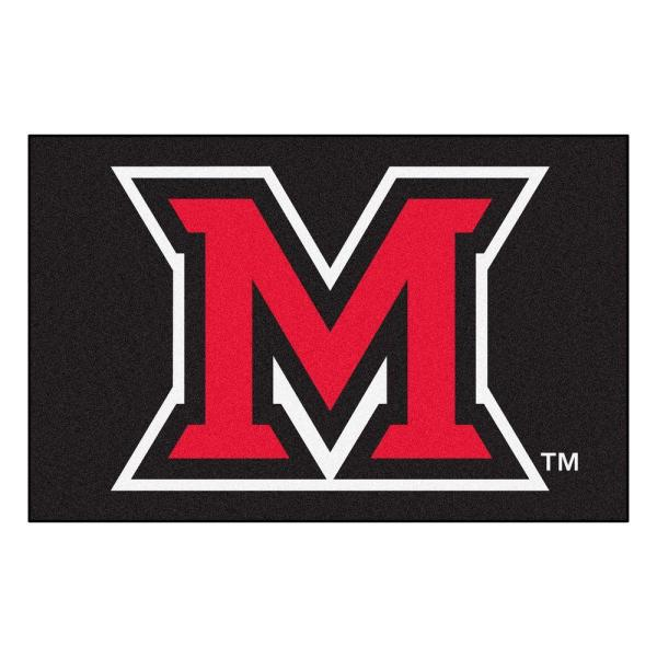 NCAA Miami University Ohio Black 2 ft. x 3 ft. Area Rug