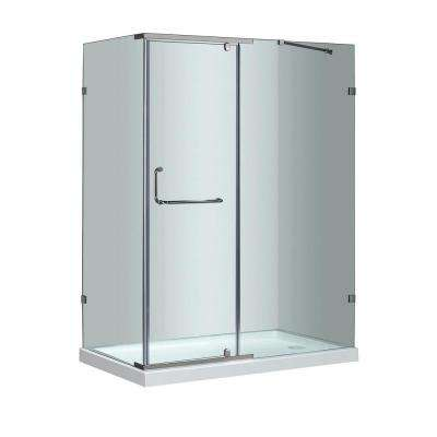 SEN975 60 in. x 35 in. x 77-1/2 in. Semi-Frameless Shower Enclosure in Chrome with Right Base