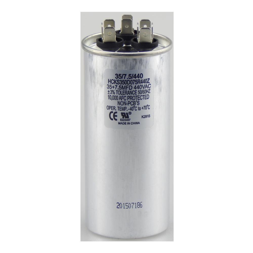 440-Volt 35/7.5 MFD Dual Rated Motor Run Round Capacitor