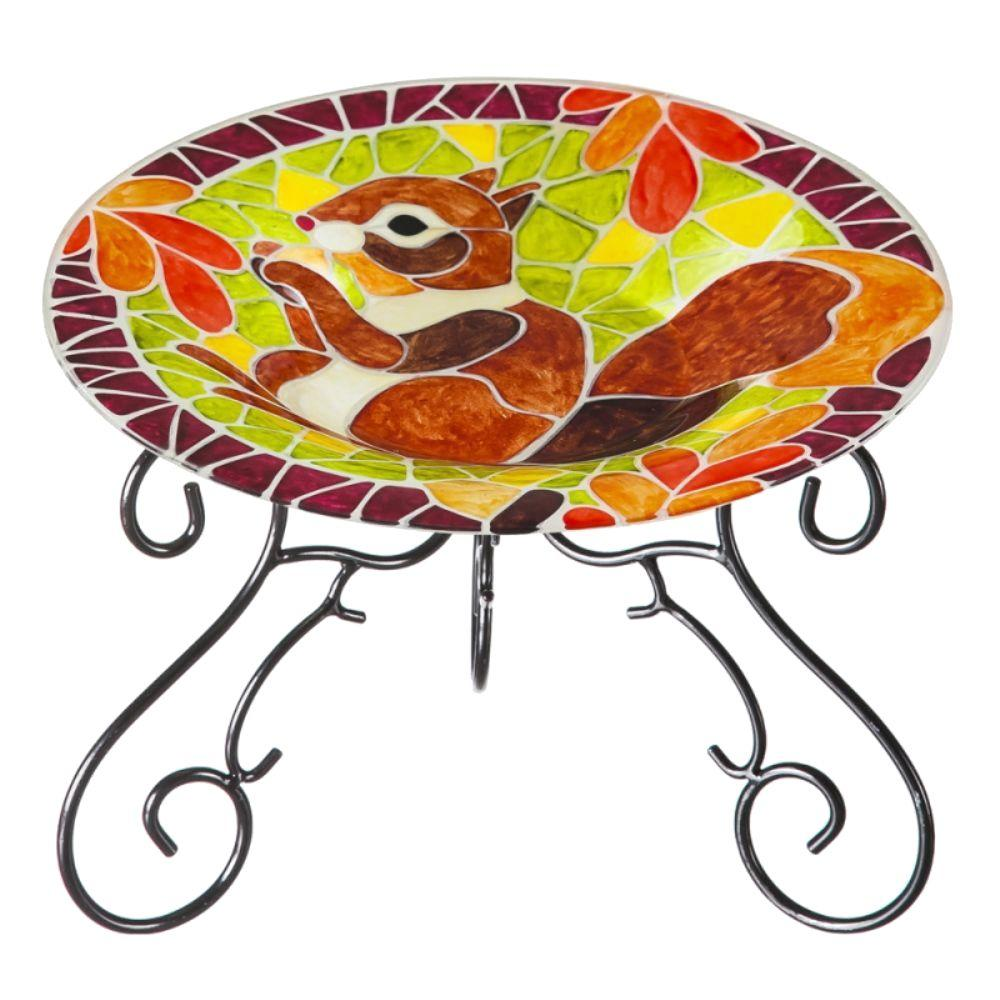 Evergreen 13 in. Faux Mosaic Squirrel Tabletop Birdbath with Stand