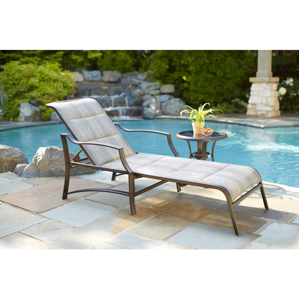 H&ton Bay Statesville Padded Patio Chaise Lounge  sc 1 st  Home Depot : chaise lounges for patio - Sectionals, Sofas & Couches