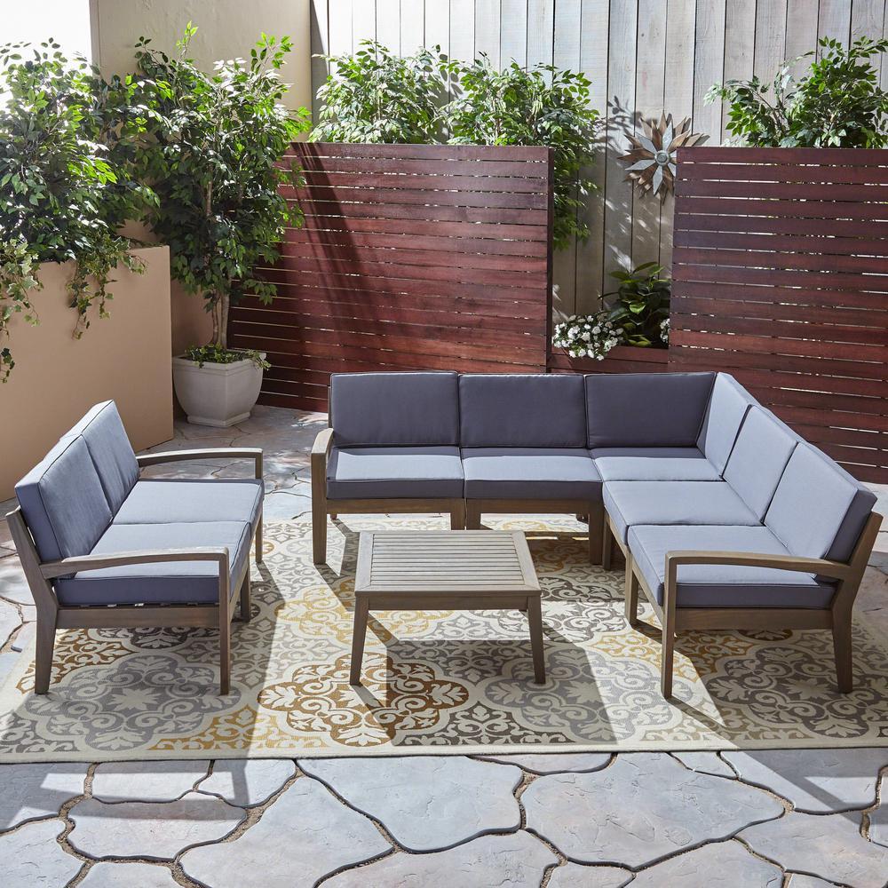 Grenada Teak Brown 8-Piece Wood Patio Conversation Set with Dark Grey Cushions