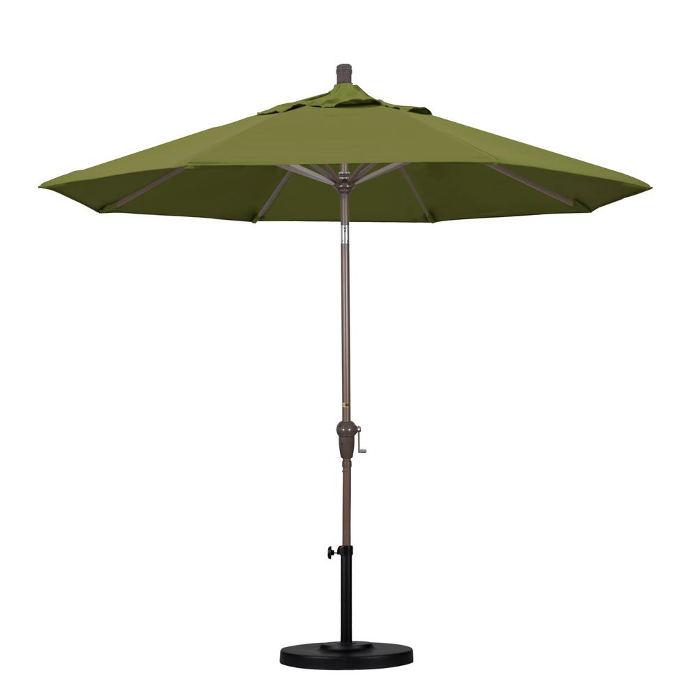 9 ft. Aluminum Auto Tilt Patio Umbrella in Palm Pacifica