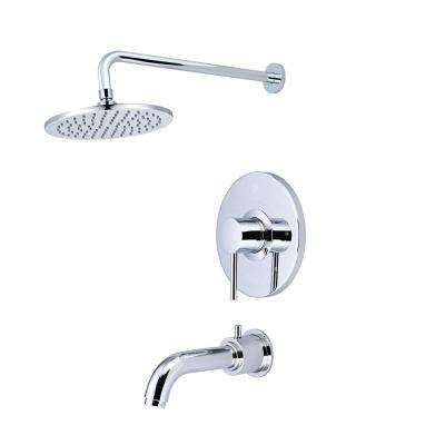 Motegi 1-Handle Tub and Shower Trim Kit in Polished Chrome with Rain Showerhead (Valve Not Included)