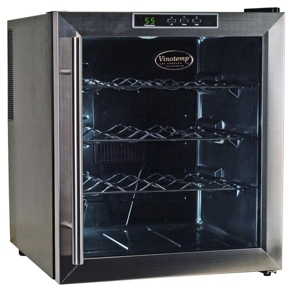 vinotemp 16 bottle black thermoelectric wine cooler vt 16teds the rh homedepot com