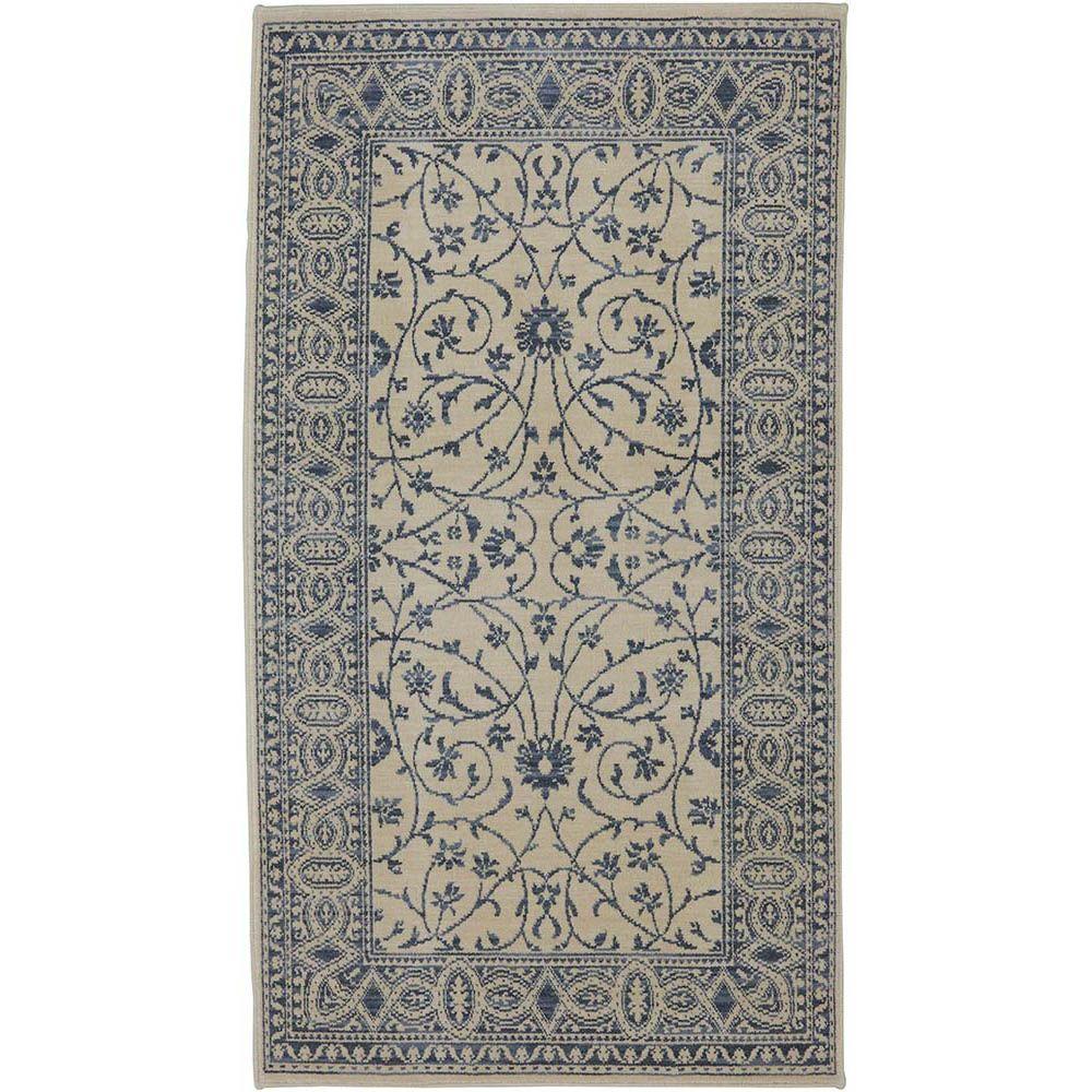 Karastan Somerset Lane Ivory/Blue 2 ft. 9 in. x 5 ft. Accent Rug