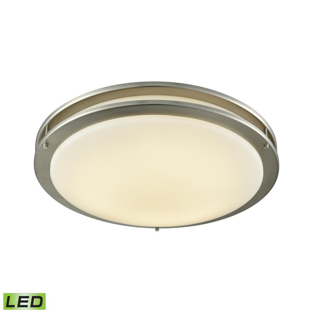 Clarion 100-Watt Brushed Nickel Integrated LED Flushmount