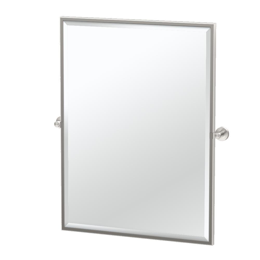 Glam 32.5 in. x 27.63 in. Single Framed Large Rectangle Mirror in Satin Nickel