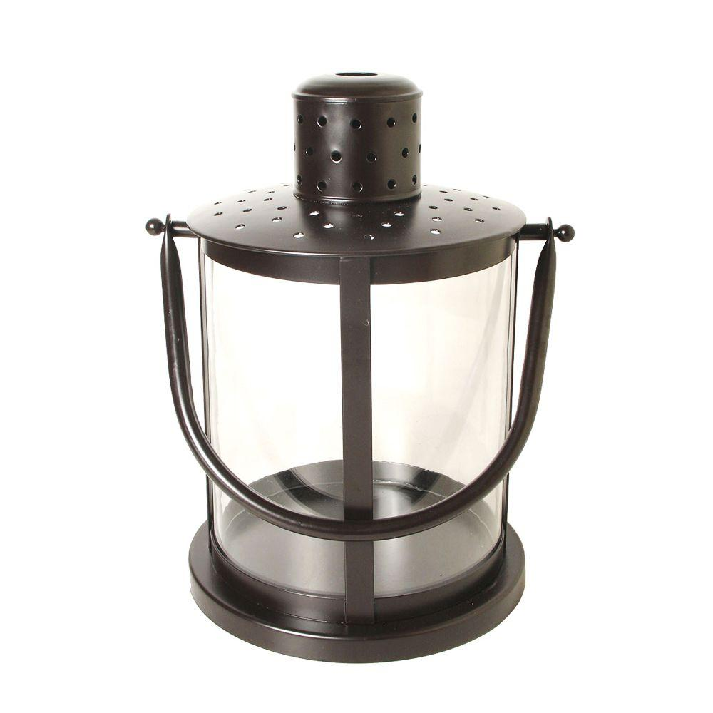 15.5 in. Round Lantern in Rust Patina