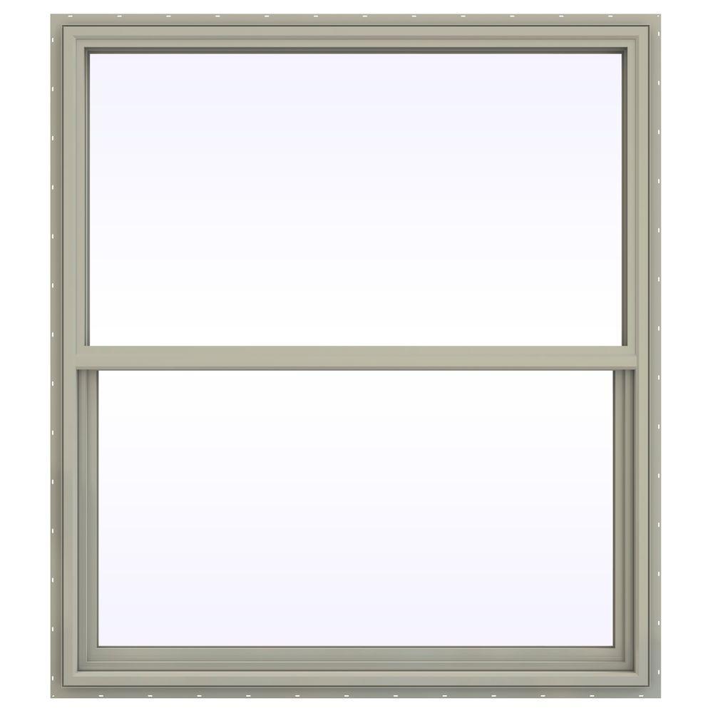 JELD-WEN 47.5 in. x 53.5 in. V-4500 Series Single Hung Vinyl Window - Tan