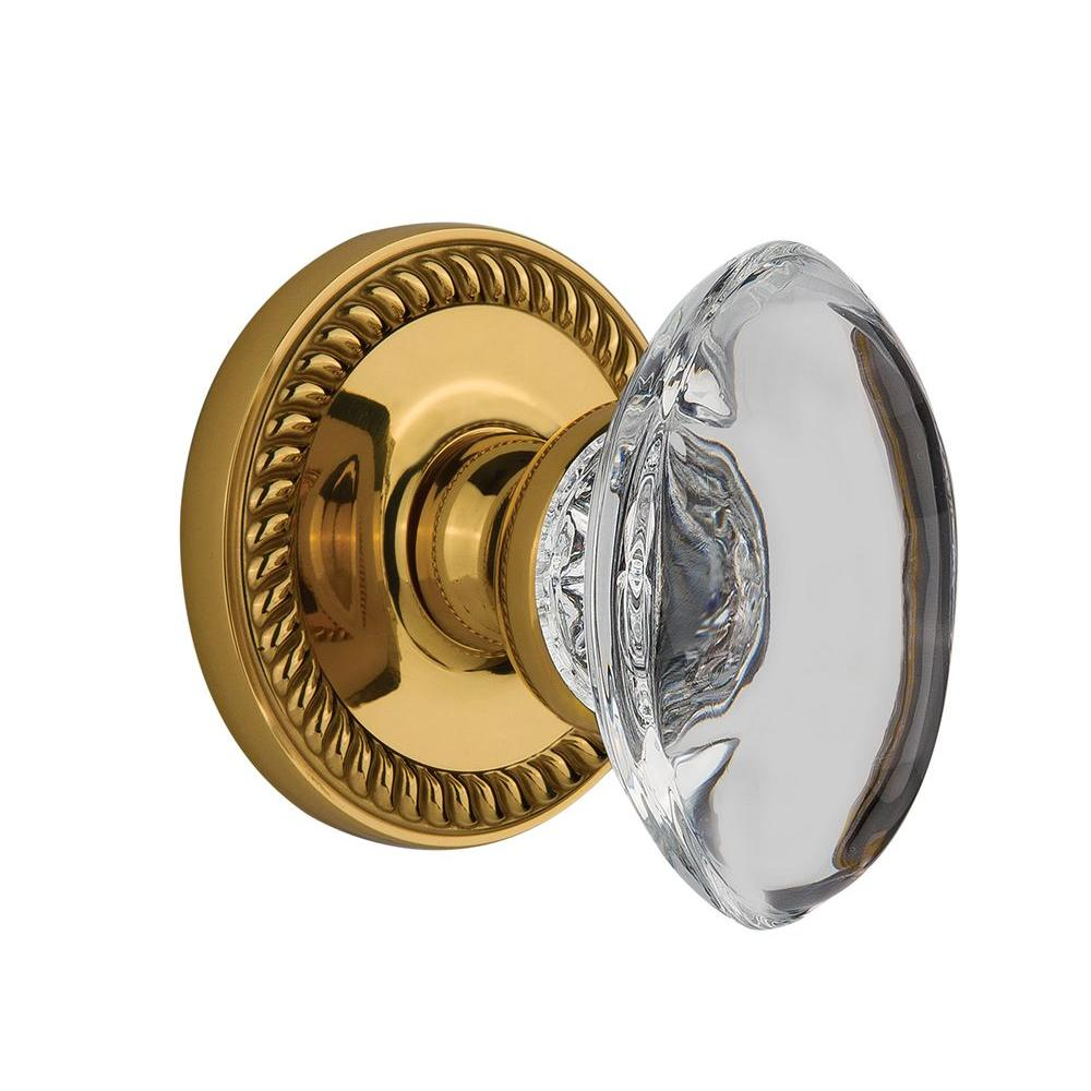 null Grandeur Polished Brass Passage Newport with Provence Crystal Knob