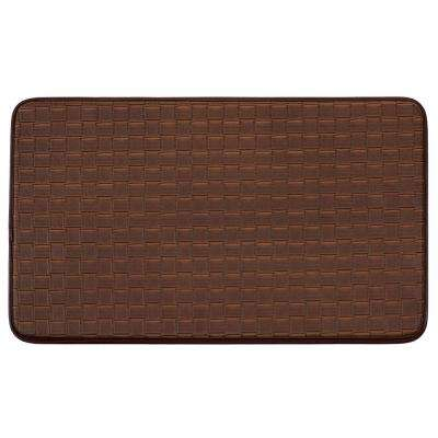 Chef Gear Basket Weave Faux-Leather Playa Mocha 24 in. x 36 in. PVC Anti-Fatigue Kitchen Mat